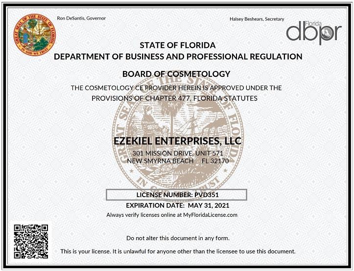 14 95 10hr Florida Cosmetology Continuing Education License Renewal