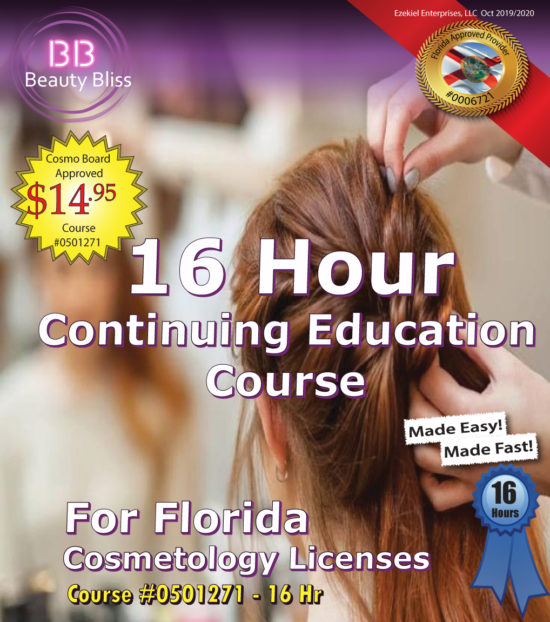 16 Hour Continuing Education Course Cover for Florida Cosmetology Licenses